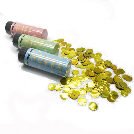 3-p konfettibomb 10cm med guldkonfetti