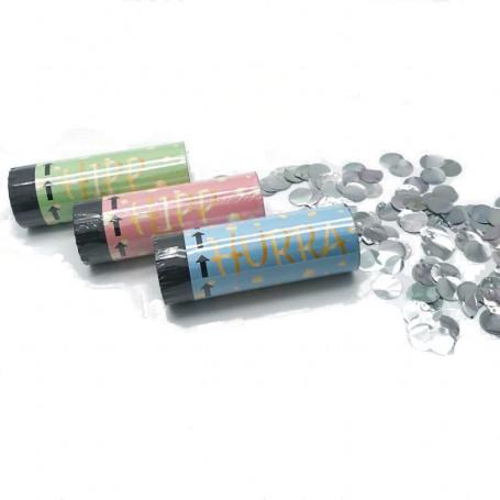 3-p konfettibomb 10cm med silverkonfetti